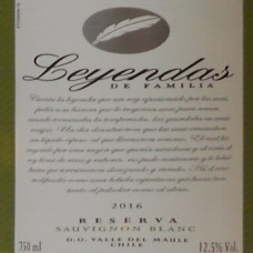 Leyendas de Familia Reserva Sauvignon Blanc 2016